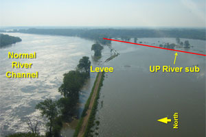 Flood-impacted area along River Subdivision between Kansas City and Jefferson City, Mo.